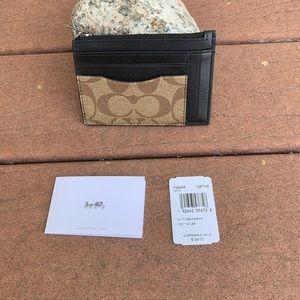 COACH Multi Card Case Signature Costed Canvas NWT